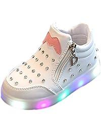 Niña Ola Punto Botas, Suave Suela Zapatos Destellos De Colores LED Zapatos De Iluminación Antideslizantes para Niños De 1-16 Años