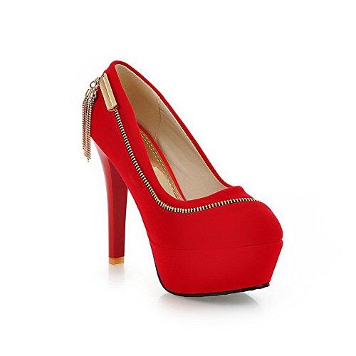 balamasa pour femme à enfiler Fermeture Éclair spikes-stilettos pumps-shoes givré red