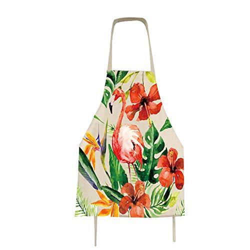 Qinlee Flamingo Küchenschürze Küchen Uniformen Eltern-Kind Schürzen Tropische Pflanze Stil Grillschürze Antifouling Arbeitsschürze (C-56 * 68cm)