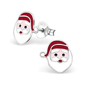 Nikolaus Ohrstecker 925 Echt Silber Ohrringe für Mädchen Kinder Weihnachtsmann Weihnachtsgeschenk