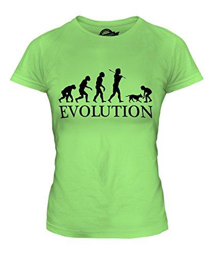 CandyMix Mädchen Mit Hund Evolution Des Menschen Damen T Shirt, Größe X-Small, Farbe Limettengrün