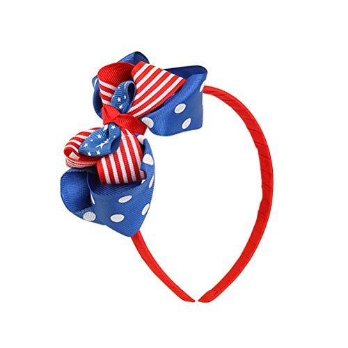 Tinksky Bandeau de drapeau américain Bandeau Patriotique Head Independence Day Headwear Hair Hoop Filles Coiffure pour la Journée du drapeau national