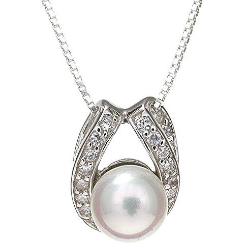 Tesoro 925, con perle bianche-Ciondolo in argento Sterling massiccio da catenina con ciondolo