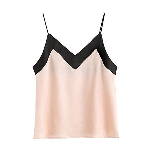 OverDose Damen Lace Chiffon Vest Top Sleeveless Casual Tank Blouse Summer Tops T-Shirt Spitze Weste Sommer Blusen (M, C-Z-Rosa)