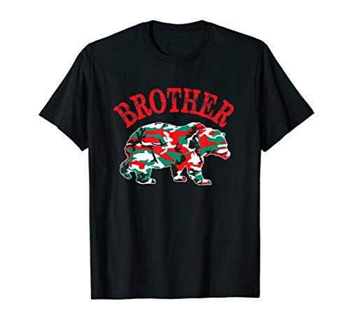 Christmas Camo Brother Bear Red Green Camouflage PJ Family T-Shirt (Woodland T-shirt Kids Camouflage)