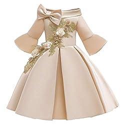 Yanhoo Mädchen Prinzessin Brautjungfern Festzug Kleid Geburtstagsfeier Hochzeitskleid Ausgestellte Kinderröcke mit Einer Schulter und aufgestickten Prinzessin-Tutu-Kleidern