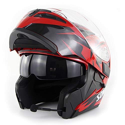 Wansheng Moto Casco de Motocicleta Bluetooth Integrado Modular Flip Up Full Face Casco de Motocicleta Certificación D.O.T Doble Espejo MP3 HD Llamada,Red,L59cm~60cm