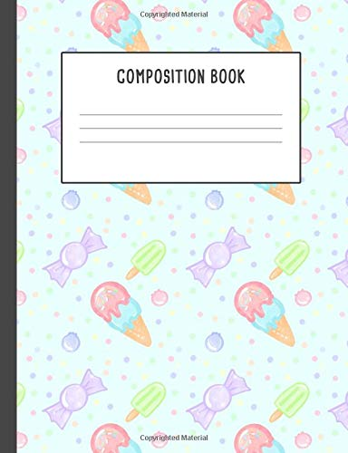 Composition Book: Kawaii Japanese Pattern Ice Pop Candies Colorful, 200 pages College ruled (7.44 x 9.69) (Glitter Sprinkles Pink)