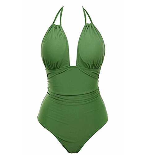 Coolster Neuer reizvoller einteiliger Badeanzug Backless Badeanzug für Frauen Bademode weiblicher Badeanzug schwimmen Beachwear (Grün, L)