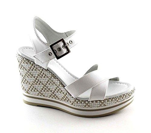 BLACK GARDENS 17700 Weiße Frauen Schuhe Sandalen Leder Keil Schnalle Bianco