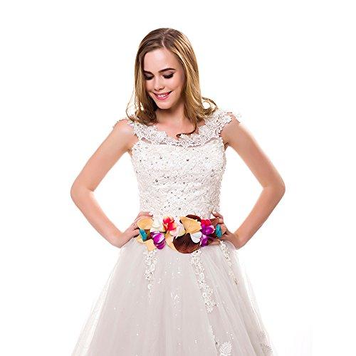 Ever Fairy moda flor cinturones para mujer niña dama de honor vestido de satén cinturón boda fajas cinturón de la pluma tela elástica cinturón accesorios (B)