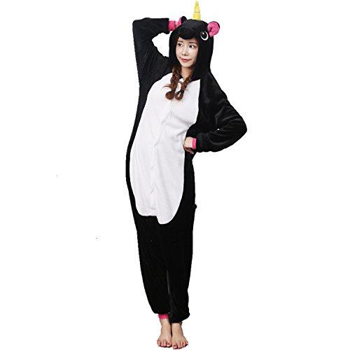 Einhorn Schwarzes Kostüm (Unicsex Süß Einhorn Overall Pyjama Jumpsuit Kostüme Schlafanzug Für Kinder / Erwachsene (S,)