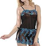 MERICAL Mode Frauen Sexy Bogen Uniformen Versuchung Unterwäsche Nachthemd(XXL,Blau)