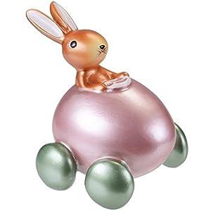 Hase im Auto weiss-rosa von Gift-Company Osterhase