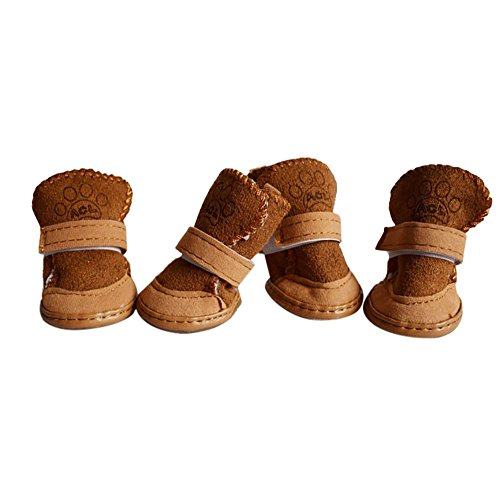 Stiefel Hund Chihuahua (Tonsee 4Pcs Hundeschuhe Winter Schnee Warm Babyschuh Haustier Hund Chihuahua Schuhe Stiefel (Khaki, S))