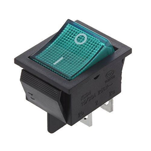 Cikuso gruen Licht 4 Pin SPST ON/OFF-Snap-in Wippschalter 15A 30A 250V AC 28x21mm - Snap In Wippschalter