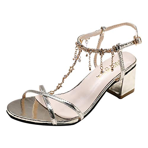 ,Elegante Ball Temperament Damen neu dick mit Strass Perlen Sandalen 6,5 cm New Fashion Women Summer Crystal Square Heel Pointed Toe Shoes Party Sandals ()