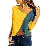 SHOBDW Damen Herbst Mode Simplicity Einfarbig Patchwork Bluse Frauen Trendigen Unregelmäßige O Ausschnitt Plus Größe Lose Shirts Tops Dünn Sweatshirt Freizeitkleidung Freizeithemd Oberseiten Hemd