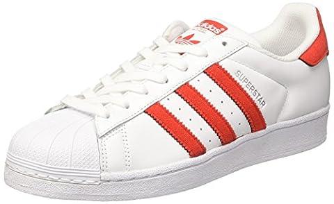 adidas Superstar, Baskets Basses Homme, Blanc (Footwear White/Solar Red/Solar Red), 43 1/3 EU