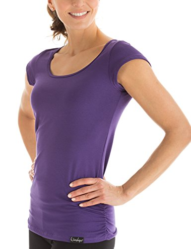 Winshape Damen Kurzarmshirt Fitness Freizeit Yoga Pilates, Dunkel Lila, S, WTR4