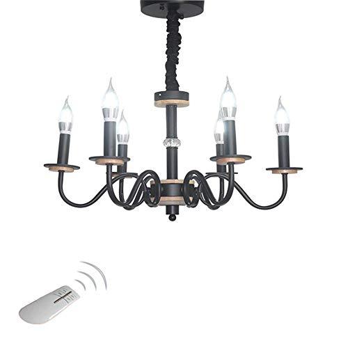 MXK-Lampe LED Kronleuchter 6 Lichter Schmiedeeisen Kerzenleuchter Wohnzimmer Restaurant Retro Schwarz mit Fernbedienung -