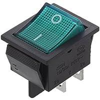 SODIAL(R) Interruptor Basculante 4 Pin DPST ON/OFF 15A 30A 250V CA 28x21mm Verde