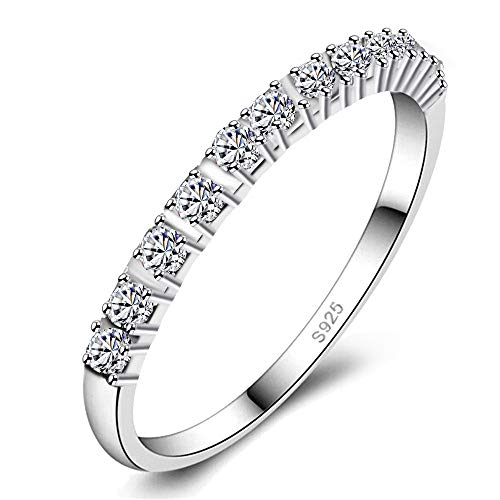 Uloveido Rhodium Plated Bridal Stacking Eternity Rings Set für Frauen Mädchen, Damen Engagement Hochzeit Versprechen Schmuck (Platin,Weiß, größe 62 (19.7) J029 (Hochzeit Ringe Größe 11 Frauen)