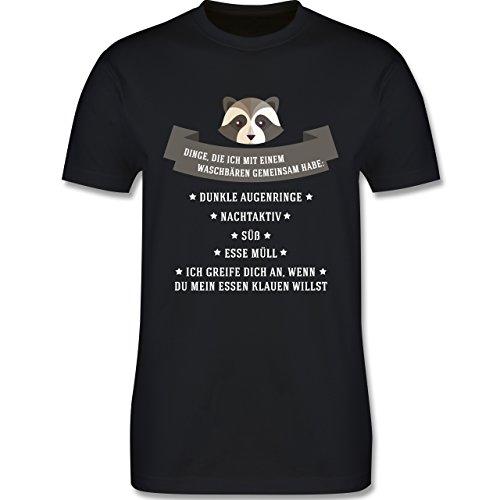 Statement Shirts - Waschbär Gemeinsamkeiten - Herren Premium T-Shirt Schwarz