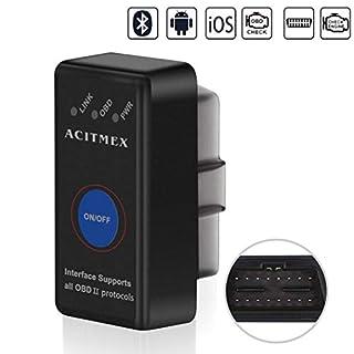 Acitmex OBD2 Bluetooth Adapter, Bluetooth 4.0 Auto OBDII Scanner Diagnostic Scan Werkzeug Upgrade 1,5 OBD II Motor Scanner Fault Code Reader Arbeit mit IOS/Android Smartphone,Hot-Plug in Design