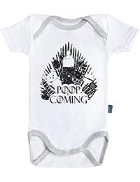 Poop is coming - Body Bébé manches courtes - Coton - Blanc - Coutures grises - Baby Geek - Parent