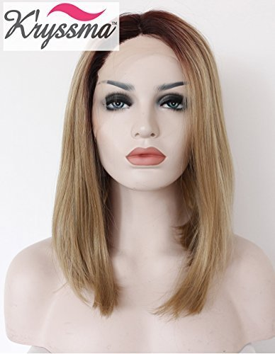 kryssma-beauty-natural-looking-short-bob-wig-for-women-ombre-blonde-brown-roots-lace-front-wigs-synt