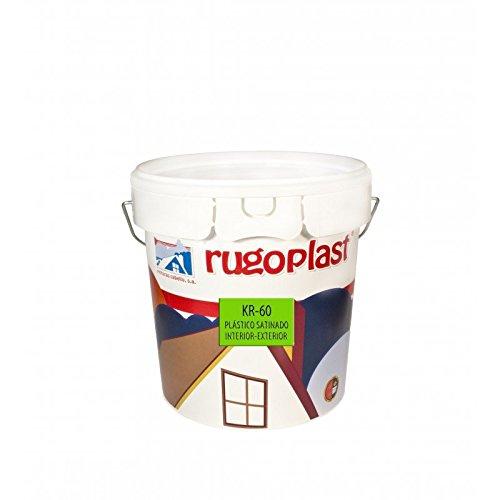 Pintura plástica blanca satinada interior / exterior ideal para decorar tu casa con un poco de brillo ( salon, baño, dormitorios, cocina... ) KR-60 Blanco (4 L) Envío GRATIS 24 h.