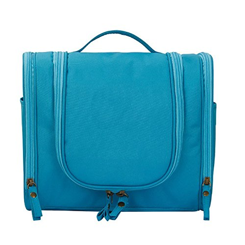 Kulturbeutel für Damen und Herren, multifunktional, für Reisen, Make-up-Tasche mit Haken blau