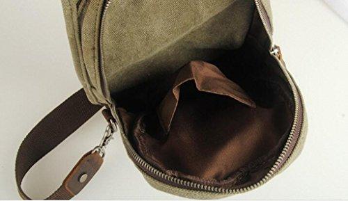Lixmee in tela, borsa a spalla in pelle sul petto (Verde militare)