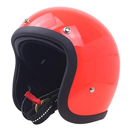 CARACHOME Casco Moto Vintage, Casco de Verano 3/4 Casco Moto. Casco Astronauta Adecuado para Hombres y Mujeres. Casco Jet Moto para Moto,Bicicleta,Crucero,Scooter,Red,XXL