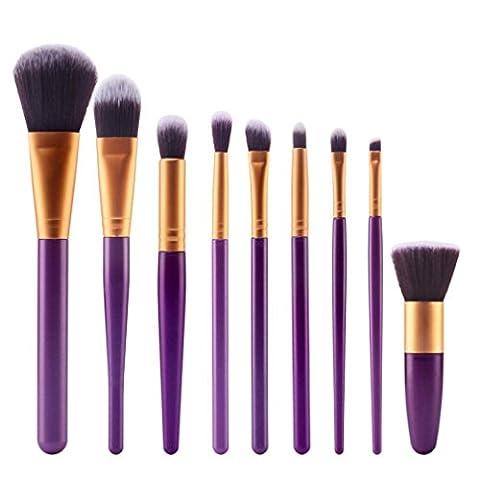 Ineternet 9 Pcs Maquillage Professionnel Ensembles Brosse de Fibre de Laine ( Violet+Or)