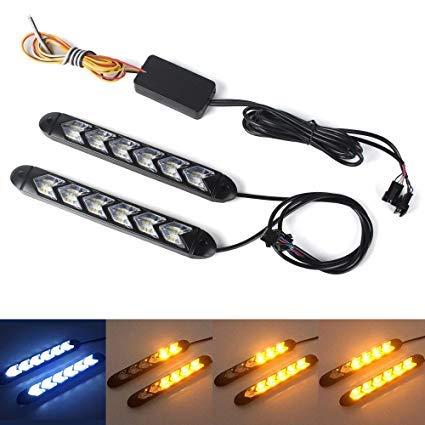 XINFOK 2ST weiß gelb Switchback Flexible fließt LED DRL Tagfahrlicht wasserdichte läuft LED Tageslicht Blinker Scheinwerfer