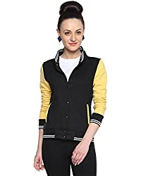Camus Sutra Womens Cotton Varsity Jacket(AW15_HVAR_W_PLN_BLYE_L_Black_Large)