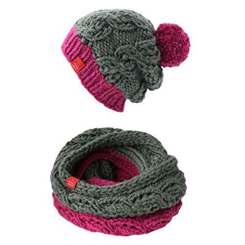 Oma Damen Mütze (MyOma Mütze Schal Set Damen *Set Ischgl* HANDGESTRICKT von Oma - Mütze handgestrickt + Loop handgestrickt)