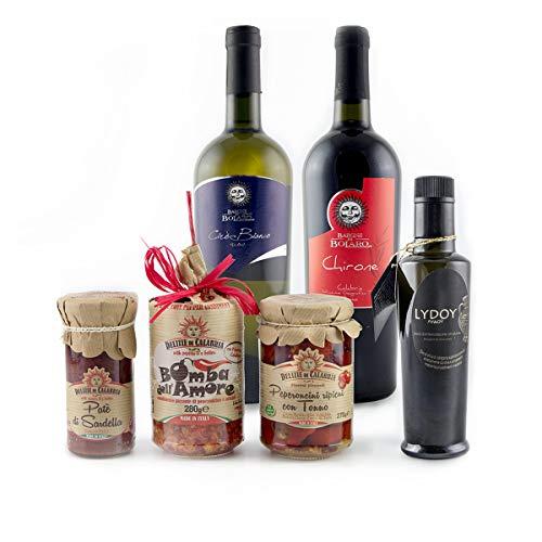 Aperitivo calabria - confezione regalo dedicata ai migliori antipasti tipici calabresi: peperoncini ripieni con tonno, bomba dell'amore, paté di sardella, olio extra vergine d'oliva,