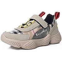 zj Velcro Niños Zapatos para Correr Ins Súper Fuego Chicas Zapatos Deportivos Chicos Viejos Zapatos Chicos Chicas Deportes Zapatillas Ligeras Zapatillas de Deporte,Beige,32