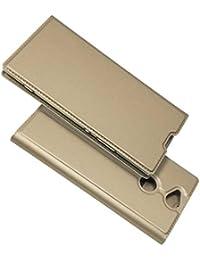 Thrion Sony Xperia XA2 Plus Hülle Handyhülle Sony Xperia XA2 Plus [Gratis Panzerglas Schutzfolie] [Standfunktion] [Kartenfach] Der Schlanke Leder Brieftasche für Sony Xperia XA2 Plus - Gold