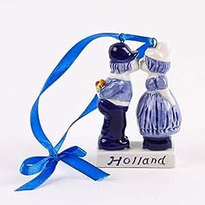 holland weihnachtsdekoration k ssende paar keramik delfter blau k che haushalt. Black Bedroom Furniture Sets. Home Design Ideas