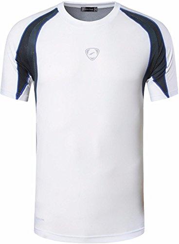 Jeansian Uomo Asciugatura Rapida Sportivo Casuale Slim Sports Fashion Tee T-Shirts Camicie LSL134 White