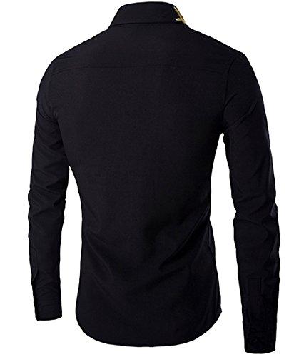 DD UP Herren Business Solid Color Knopf Druck dünne lange Ärmelkleid Hemd Black