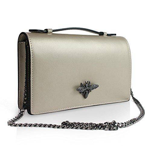 Glamexx24 Damen Clutch echt Leder Tasche Abendtasche mit Kette Handtasche Umhängetasche Made in Italy 1.014.2 Gold