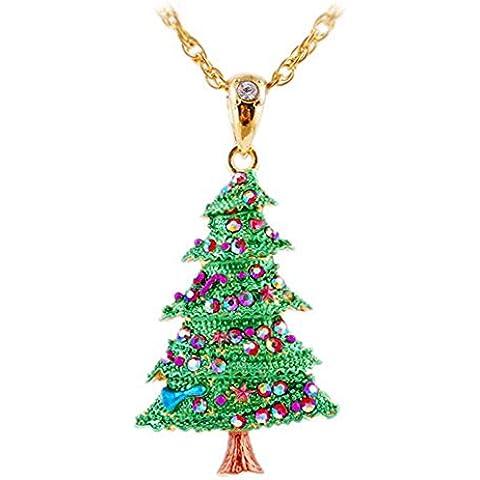 Natale Popolare Lega Rhinestone Albero Verde Collana