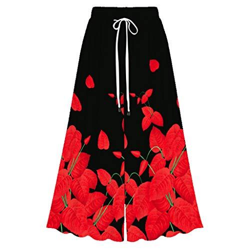 MOTOCO Damen Sommerhose Elastische Taille Blumendruck Lose Beiläufige Damen Breites Bein Palazzo Hosen Hosenrock(3XL(46),Rot 2) (Amy Rose Igel)