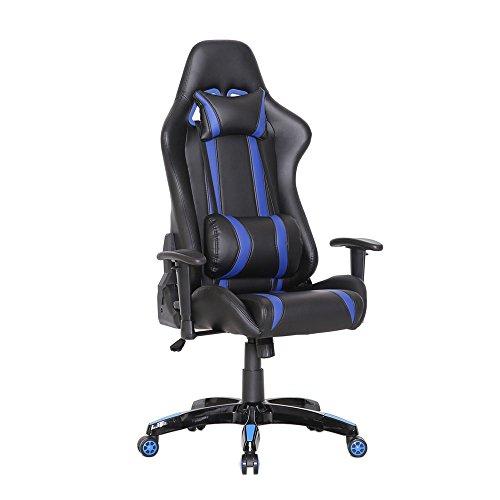 SVITA Racing Bürostuhl Chefsessel Gaming-Stuhl Schreibtischstuhl mit Armlehnen - Leder-Optik - Farbwahl (blau)