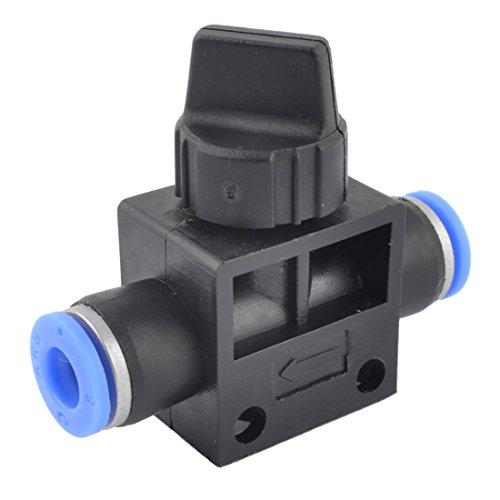 sourcingmap 1/4 drehen blau Kunststoff schwarz 6 mm Schlauch Pipe Fitting Coupler Kugelhahn